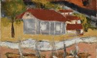Satyagraha Ashram between Jail and cremation ground Oil on canvas 24x 24 inchs.jpg