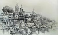 banaras ghat 22x30 acrylic pen  pencil on paper.jpg